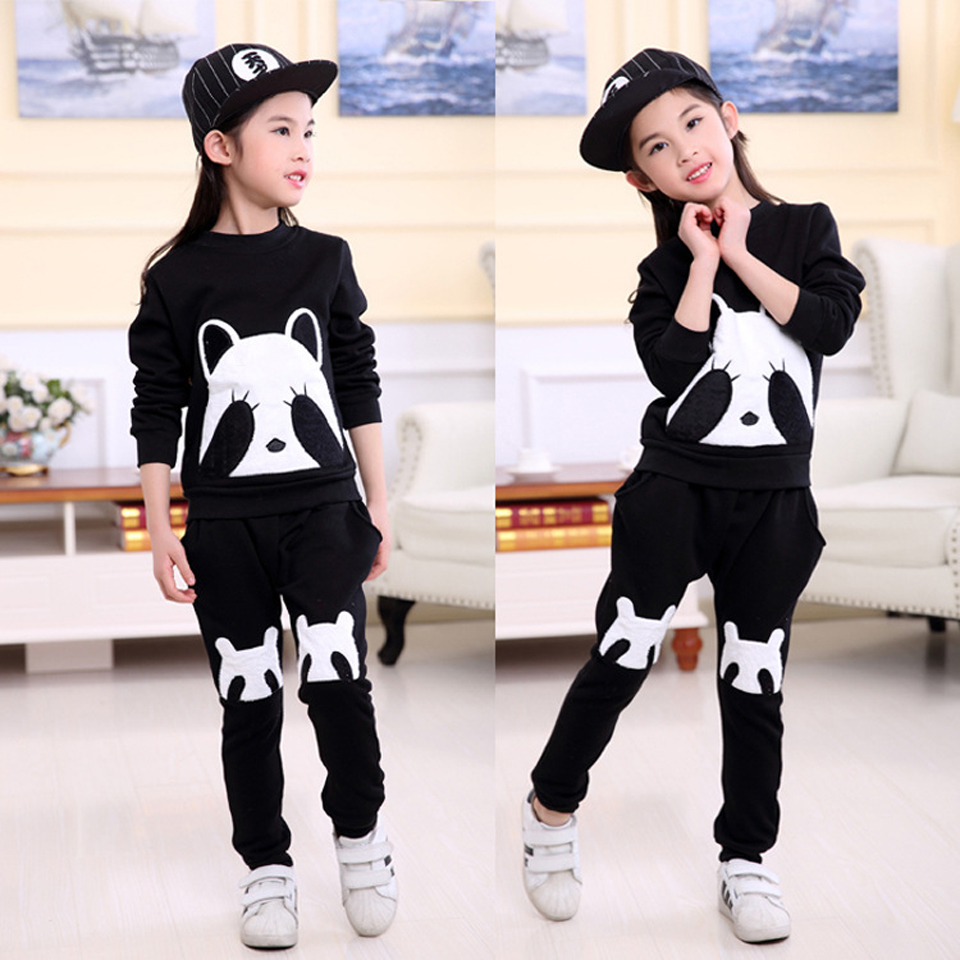 Autumn Winter Boys Girls Clothes Sets Sports Suits Children Warm Clothing Kids Cartoon Top+ Pants Long-Sleeved Spring Suit 2016 new winter spring autumn girls kids boys bunnies patch cotton sweater comfortable cute baby clothes children clothing