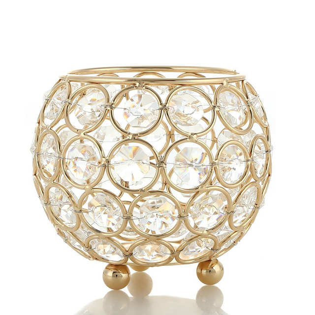 Gold Candle Holders Wedding Sparking Crystal Table Centerpieces Room Christmas Home Decorative Lantern