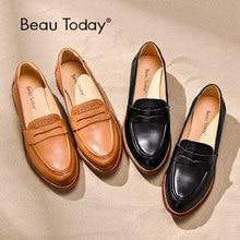 BeauToday Penny Loafers ผู้หญิง Sheepskin รองเท้าแตะของแท้หนัง Pointed Toe Flats PLUS ขนาดรองเท้า Handmade 27013