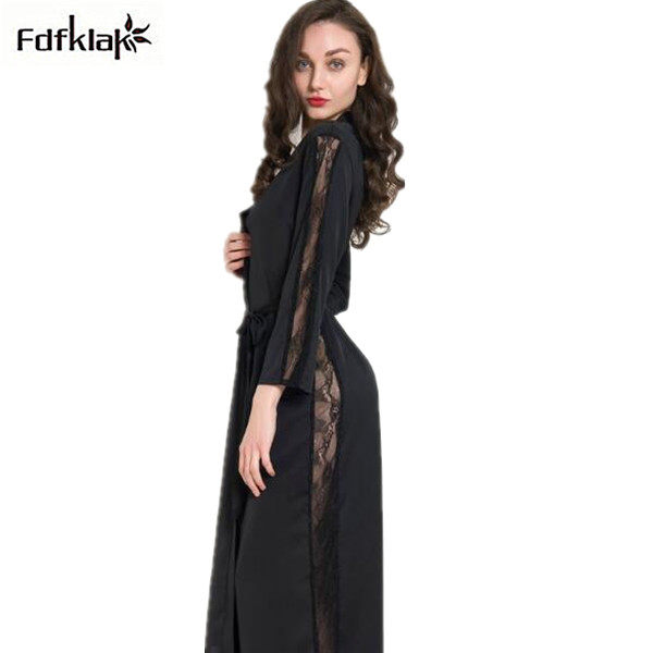 7f2422f74d Ladies bathrobe silk satin robes new spring summer long robe sexy lace  hollow out sleepwear dressing