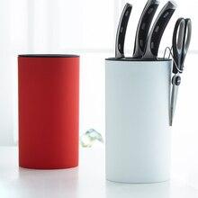 Round ABS Knife Block With Scissor Hook Utensil Accessories Holder Stand Rack Kitchen Supplies Organizer