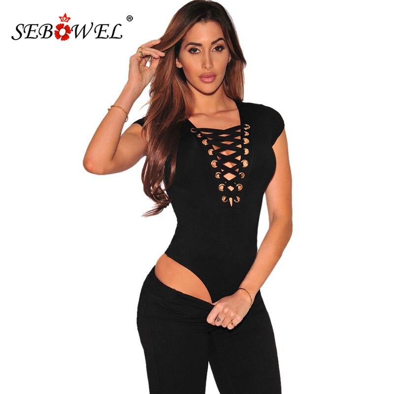 SEBOWEL Women's Body Tops Black Cap Sleeves Lace Up Bodysuit Sexy Cross Strings Front Short Sleeve Jumpsuits Female Tanks Vests