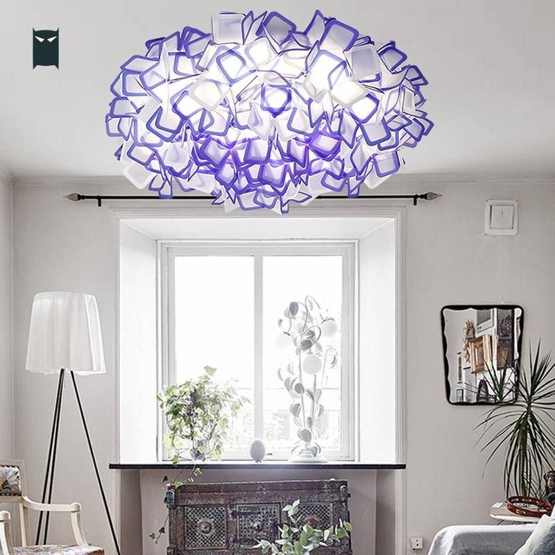 53/78cm Acrylic White Purple Black Orange Blue Transparent LED Flower Ceiling Light Fixture Contemporary Lustre for Bedroom