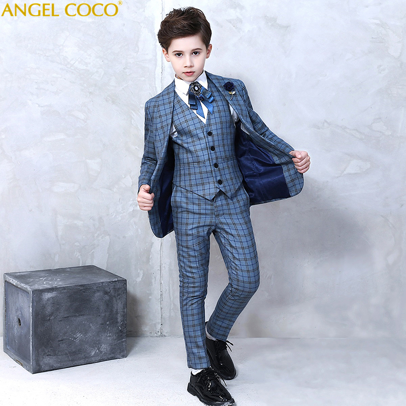 Single-Breasted Suit Piano Competition Costume Children'S Evening Dress Suits & Blazers Boys Suits For Weddings Costume Garcon недорго, оригинальная цена