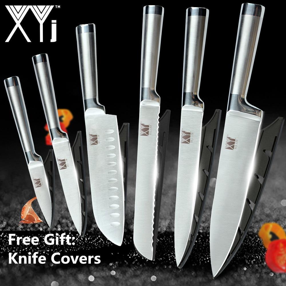 XYj набор кухонных ножей из нержавеющей стали, нож для очистки фруктов, сантоку, шеф-повара, Набор японских кухонных ножей для нарезки хлеба, аксессуары