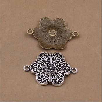 10pcs 42x33mm Vintage zinc Alloy Charms Flower Connector Charm Pendant DIY Bracelet Necklace Metal Jewelry Accessories Making hot 10pcs zinc alloy plating silver plum flower deer
