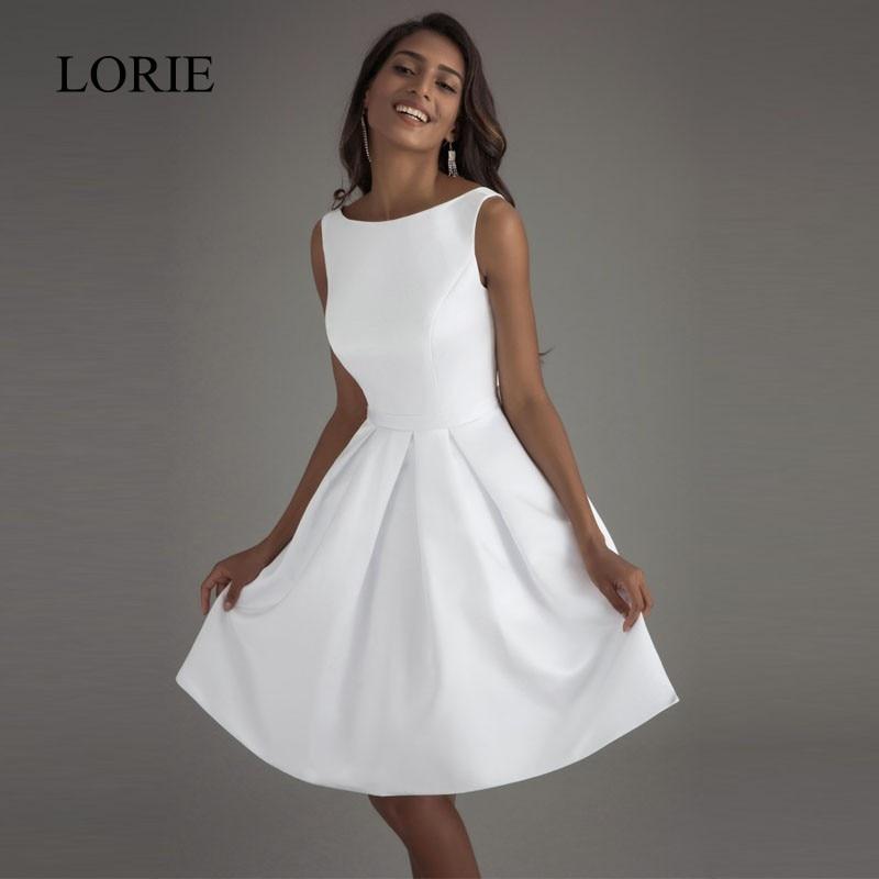 52 89 52 De Reduction Lorie Pas Cher Robes De Mariee Courtes 2018 Dos Ouvert Robe De Mariage Simple Dos Nu Satin Robe De Mariee Elegante Femmes