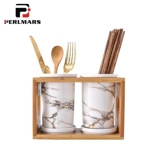 Gentil European Style Ceramic Marble Pattern Chopsticks Storage For Home Kitchen  Accessories Wooden Shelf Spoon Fork Holder