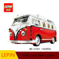 Lepin 21001 1354pcs Technic Series The Volkswagen T1 Camper Van Model Assembling Building Blocks Compatible With