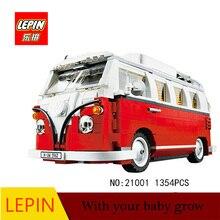 Lepin 21001 1354st Technic-serien Volkswagen T1 Camper Van Modell Monteringsbyggnadsblock Kompatibel med Toy 10220