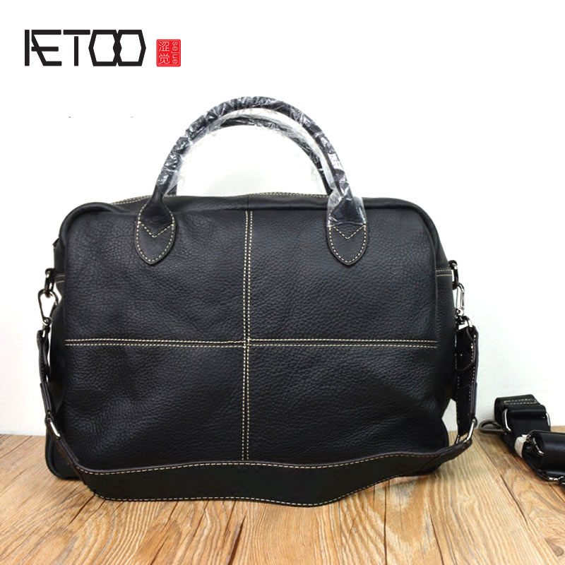 AETOO Europe and the United States leather retro men bag handbag female large capacity travel bag head layer of cowhide shoulde europe and the united states style first layer of leather lychee handbag fashion retro large capacity solid business travel bus