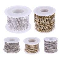 10Yards Roll Clear Crystal Rhinestone Chain DIY Sew On Silver Gold Base Ornaments Rhinestone Chains