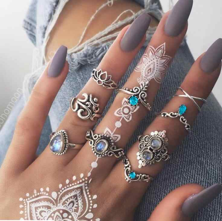 2018 Hot 9 PCS Opal Kunckle Ring Set Jewelry Crystal Lotus Moon Boho Finger Rings for Women Statement Bague Femme Anillos Mujer