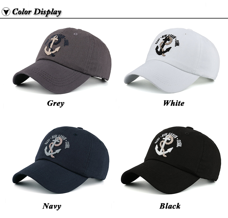 Embroidered Anchor & Rope Baseball Cap - Available Colors