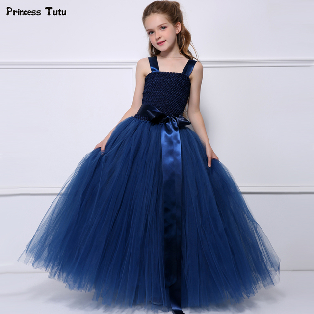 5e100439cbba5 Navy Blue Tutu Dresses For Girls Tulle Flower Girl Dress Princess Kids Girls  Pageant Wedding Birthday Party Dresses Size 1-14Y