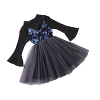 2017 Spring Autumn Girls Clothes Sets Of Trumpet Sleeve Top Tulle Camisole Skirt Childrens Fashion Princess