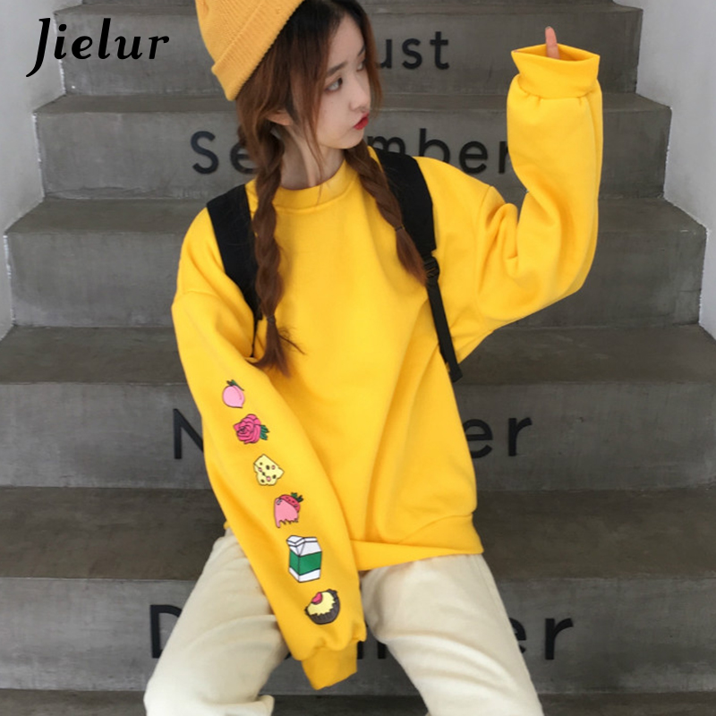 Jielur Sweatshirts Women Kawaii Cartoon Print Hoodies Harajuku Korean Casual Loose Simple O-neck Fleece Female Pullover M-XXL