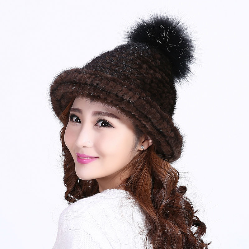 2016 mink knitting fashion woman Hat Multicolor Newest  best seller Christmas hat winter woman Fox ball  Real Hat Knitted hat