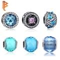 Europeu 925 Sterling Silver Criado Jóias de Safira CZ Facetada Murano Glass Beads Fit Pandora Charme Pulseiras Jóias Originais