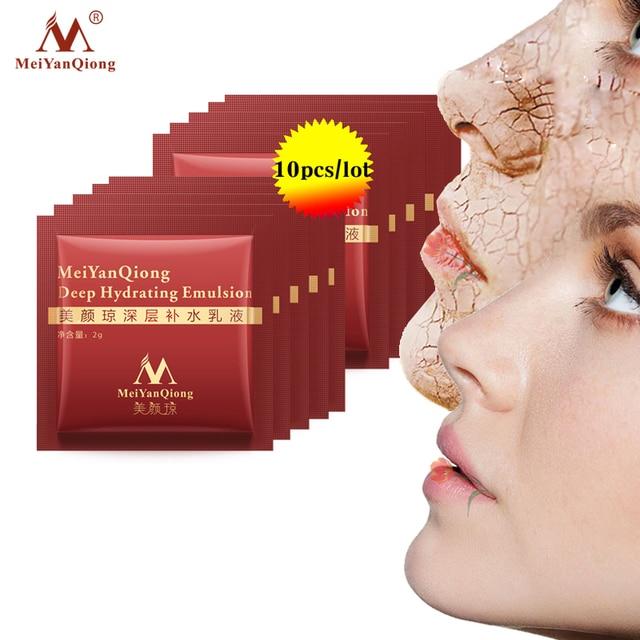 10 piezas MeiYanQiong profundo hidratante emulsión ácido hialurónico hidratante cara Crema de cuidado de la piel blanqueamiento Anti caracoles levantar reafirmante