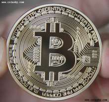 Banhado A ouro Bitcoin Bit BTC Casascius Moeda comemorativa Collectible Art Gift Collection Física do Metal Antigo Imitação(China)