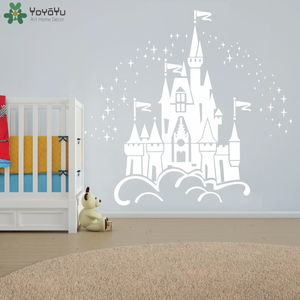Fairy Castle Wall Sticker For Kids Room Girls Baby Bedroom