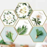 Autocollant amovible plante tropicale littéraire pour salon décoration murale chambre arrière-plan Style Mural nortique affiche d'art