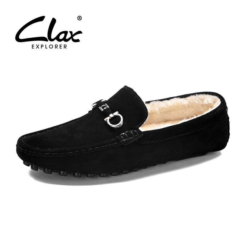 CLAX Men Fur Moccasins Winter Suede Leather Loafers Mens Boat Shoes Plush Warm Casual Shoe Soft Fashion Flat Footwear Large Size babyfeet 2017 winter children shoes fashion warm suede leather sport running school tenis girl infant boys sneakers flat loafers