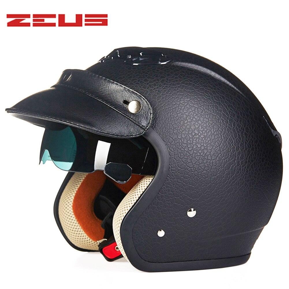 Motorcycle Helmet Leather Pilot Retro Chopper Open Face Vintage Helmet 38167 Moto Casque Casco motocicleta Capacete helmets