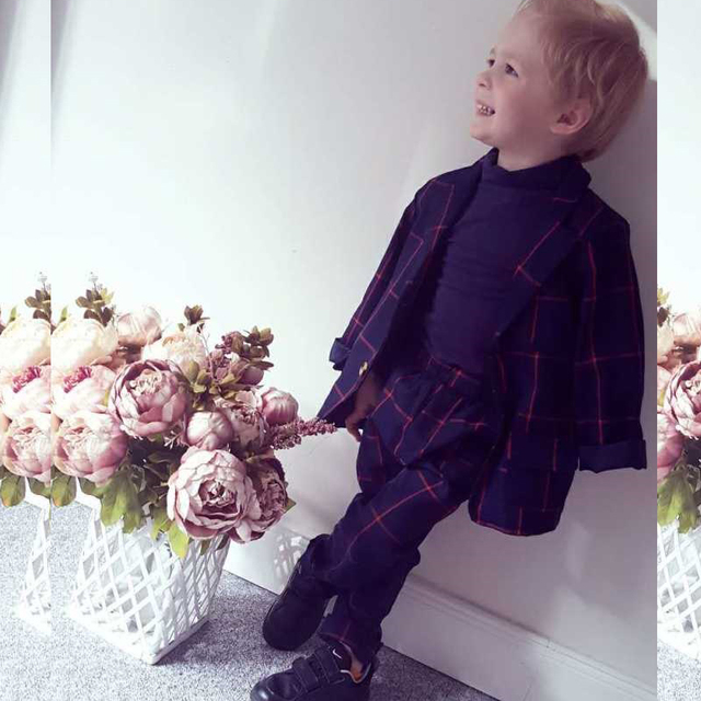 2016 Cotton Plaid Baby Boy Clothes Autumn And Winter Long-Sleeve Children Clothing Boys Suits England Style Baby Boy Blazers