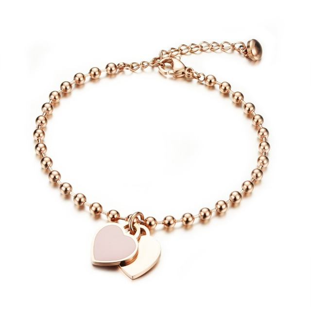 Fate Love Brand Women Bracelet Bangles Rose Gold Color Metal 316l Stainless Steel Heart Charm