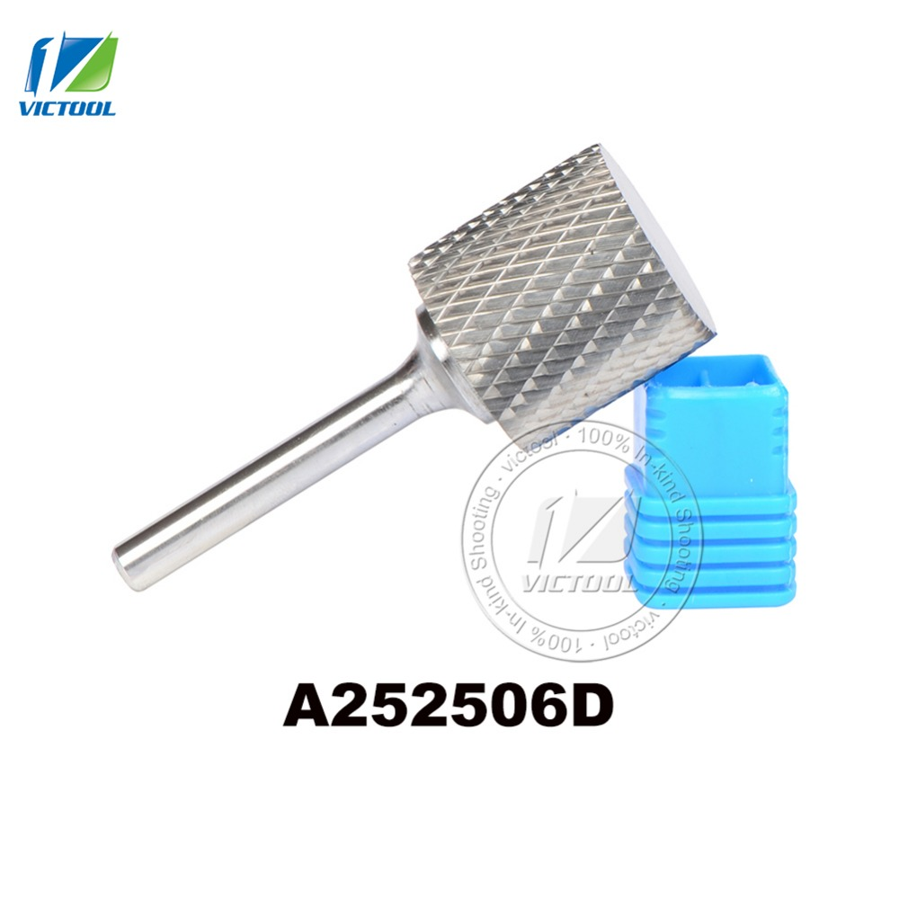 1pc A252506 cylinder 25*25mm tungsten carbide rotary burr file cutter grinding and abrasive tools 6mm shank milling bits цена