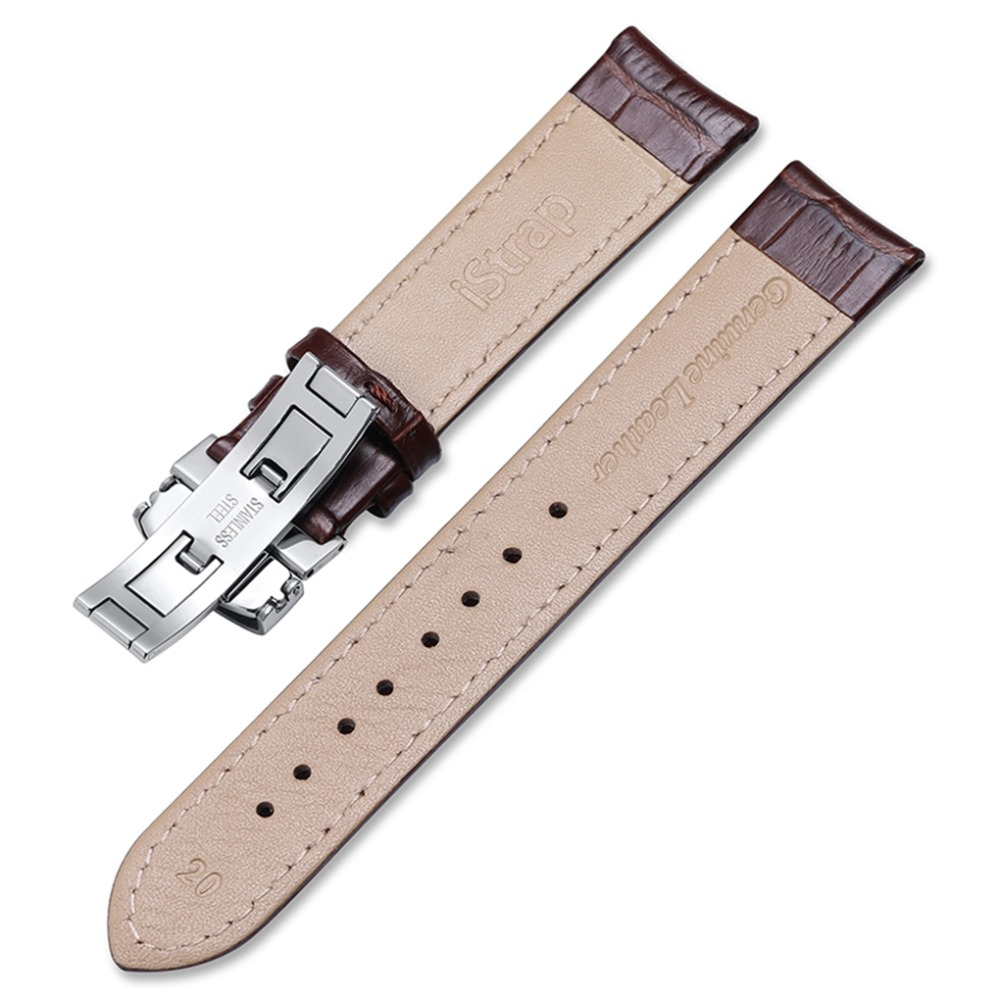 Image 3 - 18mm 19mm 20mm 21mm 22mm Genuine Leather Watchband Alligator Grain Pull Deployment Clasp Watch Band Strap For Omega Tissot Oris-in Watchbands from Watches
