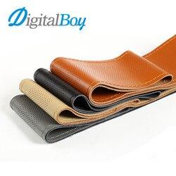 Digitalboy car steering wheel cover genuine leather soft anti slip breathable black diy braid needles thread.jpg 250x250