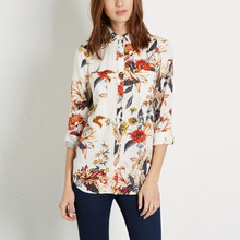 Nice Fashion Women Shirts Floral Printed Blouses Vintage Casual Shirt Long Sleeve Turndown Collar Ladies Blouse EC5521