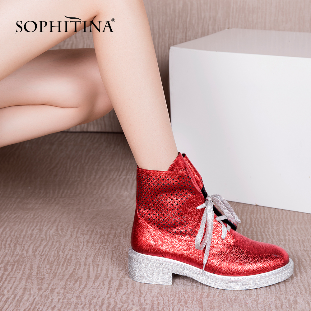SOPHITINA Luxury Genuine Leather Boots Women Autumn Strap Shoes High Quality Cow Leather Round Toe Med Square Heel Boots M33