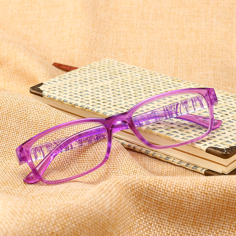 J N  Fashion Colors Unbreakable Reading Glasses Women Men Ultralight Anti Fatigue Flower Temple Presbyopic Magnifier T18995