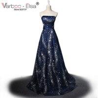 VARBOO ELSA Vestido De Festa 2017 Luxury Star Crystal Evening Dress Dark Blue Sexy Strapless Long