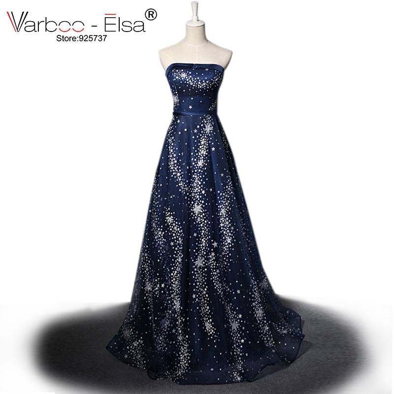 b7afe2e28 VARBOO ELSA vestido de festa 2018 Luxe Star Crystal Avondjurk Donkerblauw  Sexy Strapless Lange Prom Jurk Glitter Feestjurk in VARBOO ELSA vestido de  festa ...