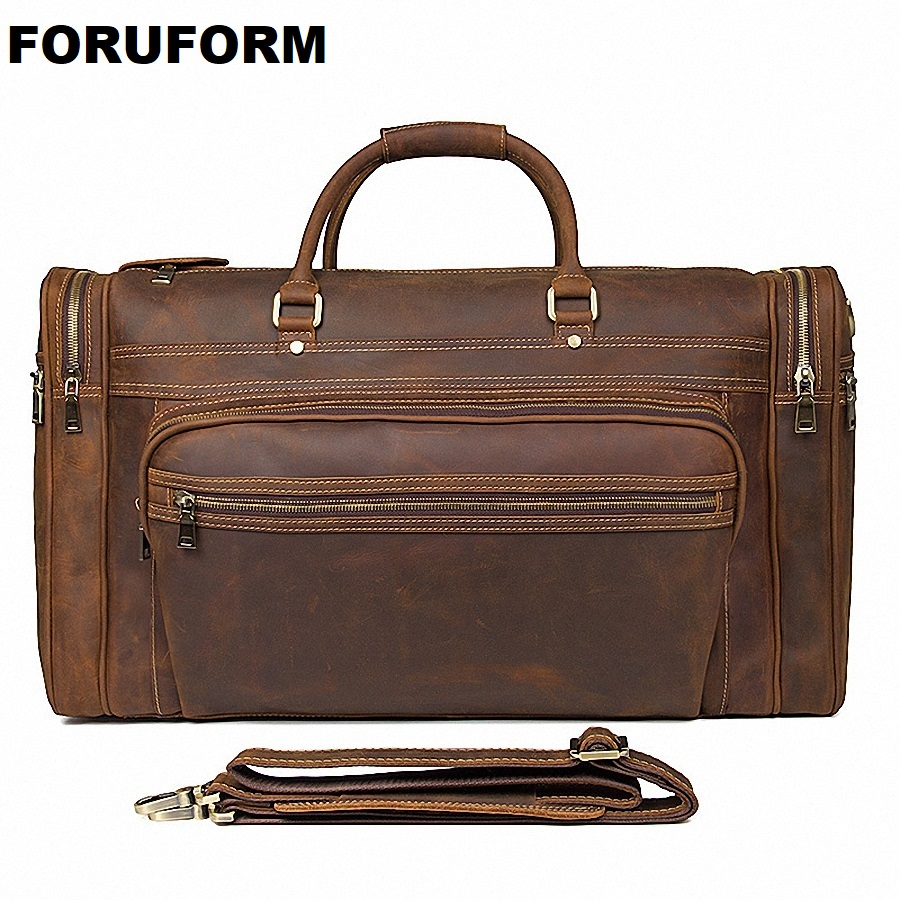 Big Capacity Genuine Leather Travel Bag Durable Crazy Horse Leather Travel Duffle Real Leather Large Shoulder Weekend Bag LI2084