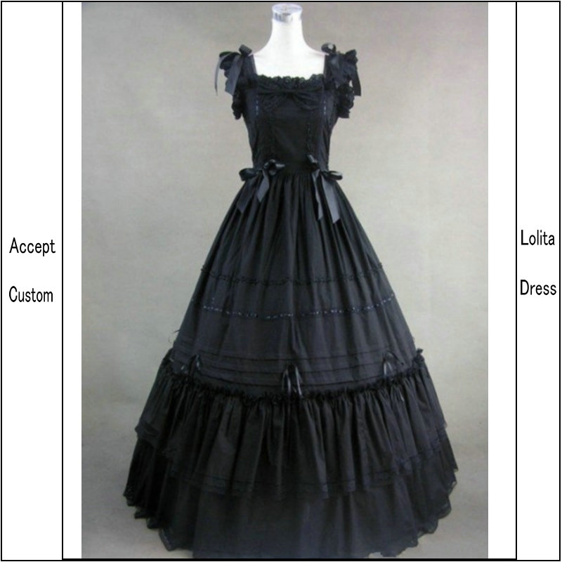 [La MaxPa] Plus Size Custom Made Victorians Lace Long Gothic Lolita Dress for Women gothic lace up tiered women s long dress