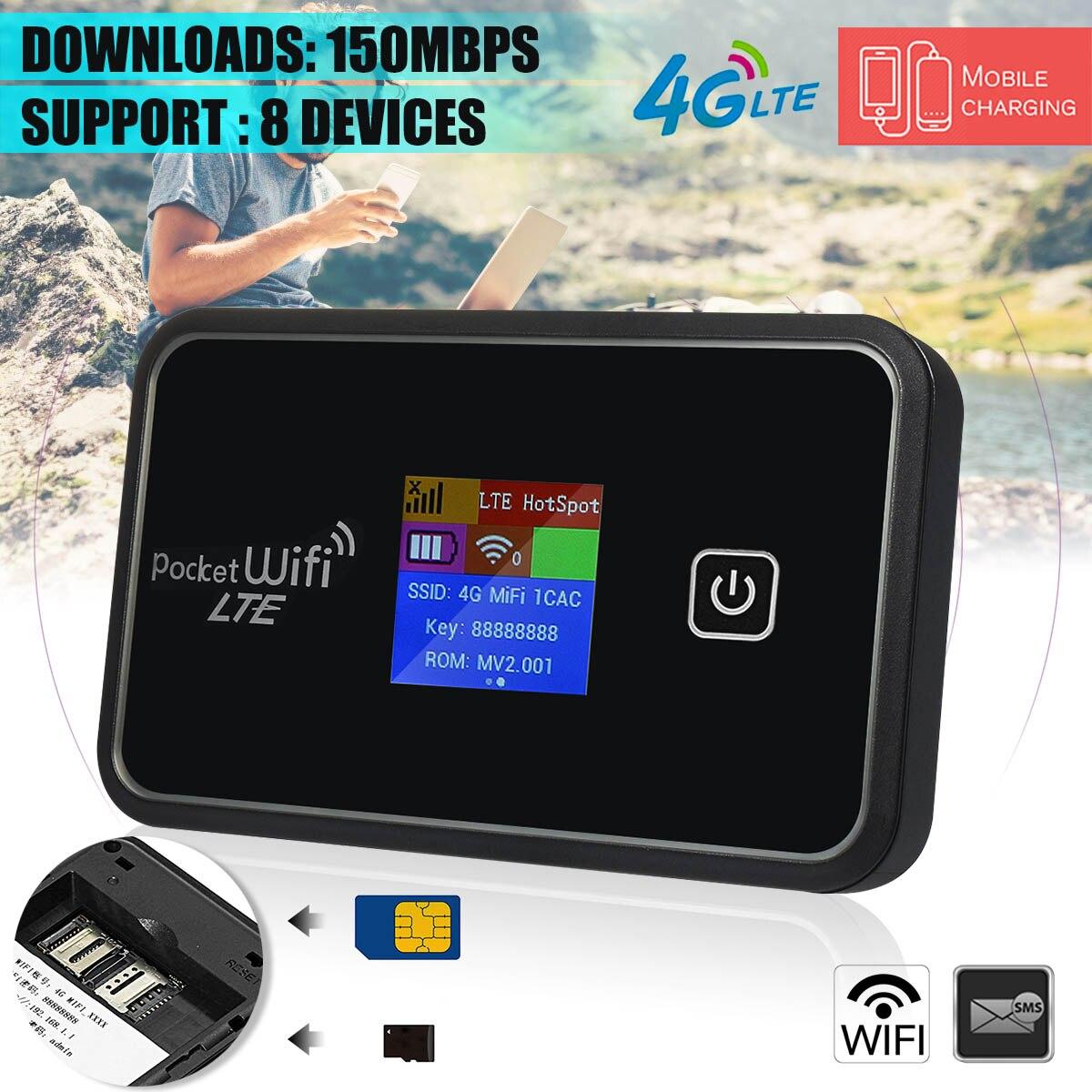 6 en 1 Portable 4G Mobile WiFi Module MIFI sans fil Portable point chaud routeur à large bande LCD avec batterie pour smartphone