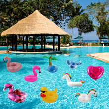 Summer Mini Water Coasters Floating inflatable cup holder Swimming pool drink float toy Pool Swan Flamingo