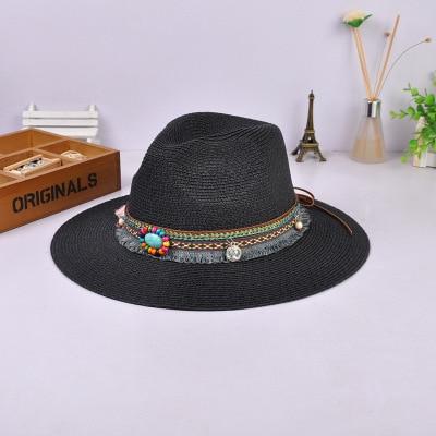 Maylisacc Spring Summer Bohemia Style Women's Jazz Caps Wide Birm Women Straw Vintage Hat Floppy Sun Beach Church Cap Gorros