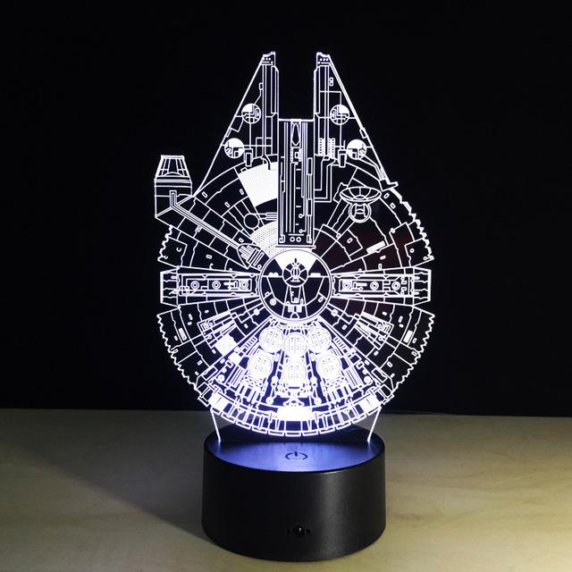 1 unids pantalla Táctil 3D ilusión Halcón Milenario marco de escritorio del Led lámpara con 7 tipos de color cambiante luz de flash en a su vez.