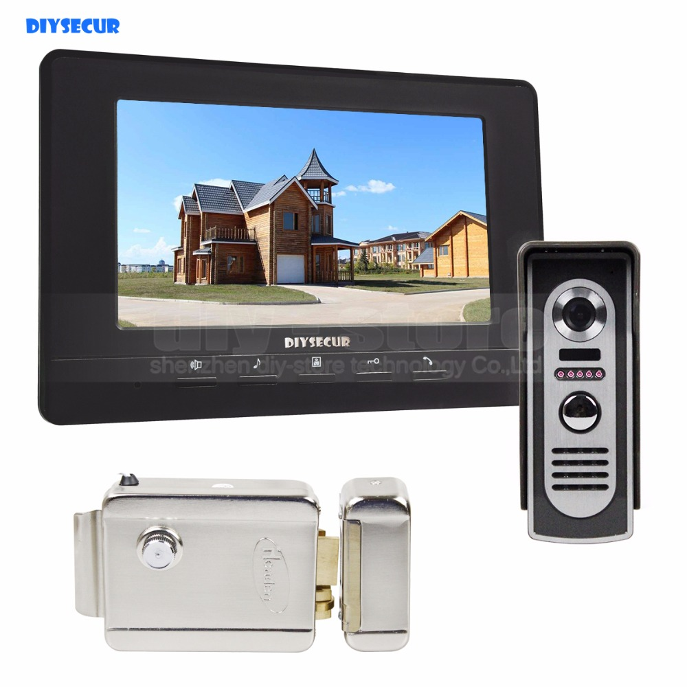 DIYSECUR Electric Lock 7inch Video Intercom Video Door Phone IR Night Vision Outdoor Camera Black 1v1 diysecur electric lock 7inch video intercom video door phone ir night vision outdoor camera black 1v1