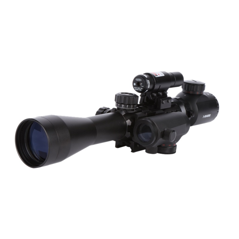 3-9x40 Tactical Riflescope outdoor reticolo sight Hunting Rifle Scope M1 quick release elevated red dot JG-8 red laser pointer 3 10x42 red laser m9b tactical rifle scope red green mil dot reticle with side mounted red laser guaranteed 100%
