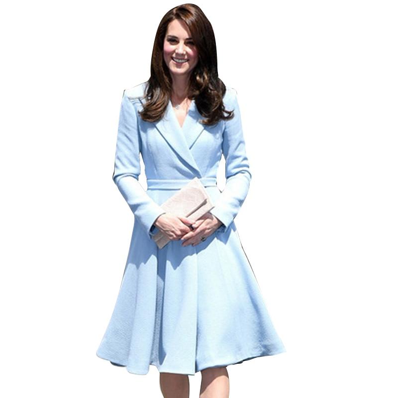 Princess Kate Middleton Dress 2019 Woman Dress Notched Long Sleeve Big Swing Elegant Dresses Work Wear