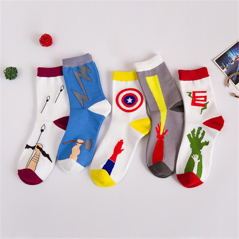 1Pair/lot Fashion Socks For Men Creative Winter Autumn White Funny Pattern Chaussette Warm Hombre Calcetines Meias B531