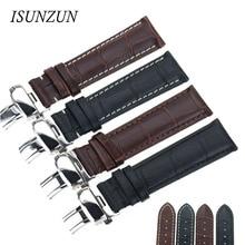 ISUNZUN Watch Band For original Leather Watchband butterfly male 2022 universal watch strap